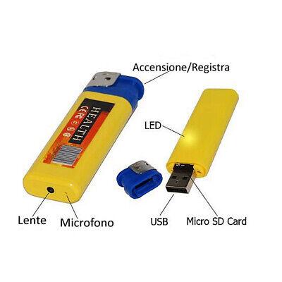 Accendino Mini Micro Telecamera Nascosta Video Camera Spia Spy Usb Audio Foto 2