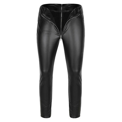 Herren Strumpfhose Wetlook Leggings schwarz Hosen Unterwäsche Pants mit Zipper 2