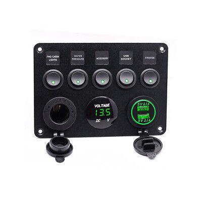 Auto 5 Gang 12V/24V Schaltpanel Schalter Kippschalter Mit LED Voltmeter USB DECC