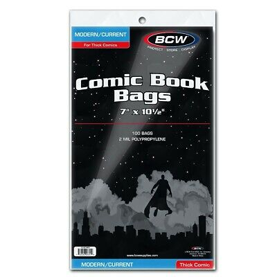 100 BCW Modern Current Thick Comic Book Poly Bags Protectors Safe Storage Sleeve 2