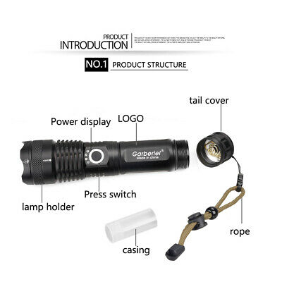 900000 Lumens Zoomable XHP50 5 Modes LED USB Rechargeable 18650 Flashlight Torch 5