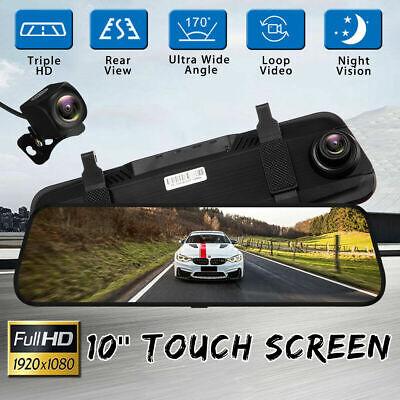 10'' HD 1080P Dual Lens Car DVR Rearview Mirror Dash Cam Recorder + Rear Camera 2