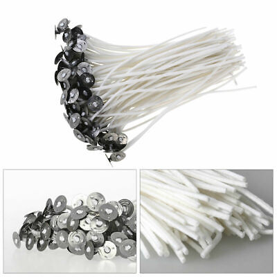 100 x 15cm Long Pre Waxed Wicks For Home Candle Making Cotton With Sustainers UK 2