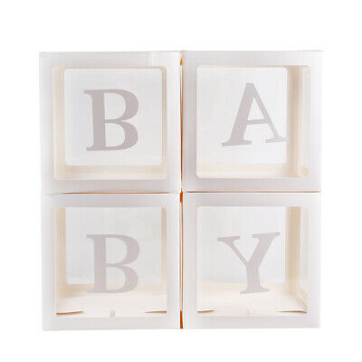 4Pc Boy Girl Baby Shower Party Decorations Transparent Cardboard Box  Xmas Gift 7
