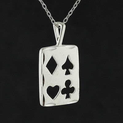 Playing Cards Necklace Pendant Vegas Gamble Suits Poker 925 Sterling Silver