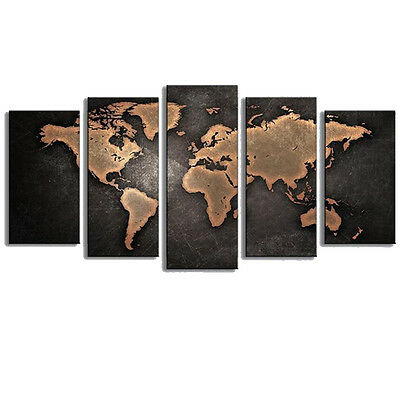 5PCS Unframed Vintage World Map Modern Canvas Print Wall Art Painting Picture 5