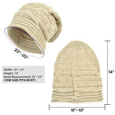 New Acrylic Unisex Chunky Knit Beanie Slouchy Hand Knit Hat Beanie Winter Hats 8