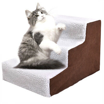 Pet Stairs 3 Steps Soft Portable Cat Dog Ladder w/ Cover Animal Ramp Small Climb 3