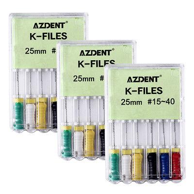 K-FILES 6Pc/Kit Dental NITI Root Canal Endodontics 25mm #15-40 Hand Use File CA 4