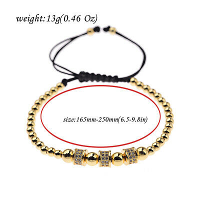 Luxury Jewelry Women Men's Micro Pave CZ Crown Braided Adjustable Bracelets Gift 12