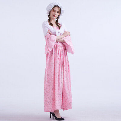 Vintage Woman Colonial Pioneer Pilgrim Costume Carnival Floral Full Dress 5Color