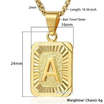 "18""-30"" Womens Mens Gold Filled A-Z Initial Necklace Letter Pendant Steel Chain 3"