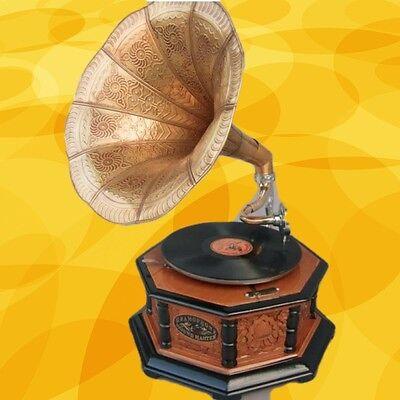 Mechanische Musik Grammophon Holz Rund In Vintage Dekoration Mahagoni Party Gag Geschenk Sammeln & Seltenes