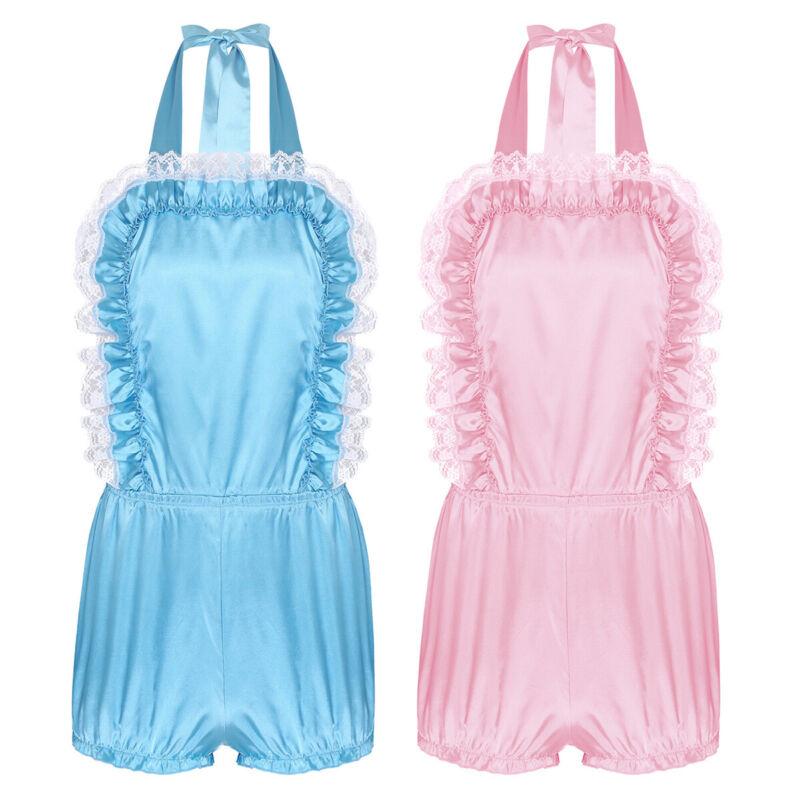 Adult Mens Cute Sissy Frilly Satin Lace Romper Sleepwear Crossdress Fancy Dress 2