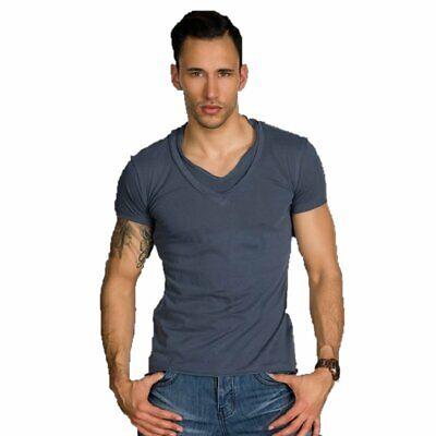 T-shirt Maglietta uomo collo a V manica corta maniche corte slim cotone xl xxl 2