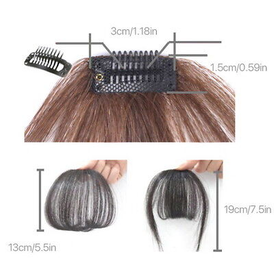 Thin Neat Air Bangs Remy Human Hair Extensions Clip in on Fringe Front Hairpiece 5
