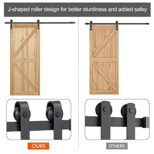 Sliding Barn Door Hardware Kit 6.6FT Modern Closet Hang Style Track Rail Black 4