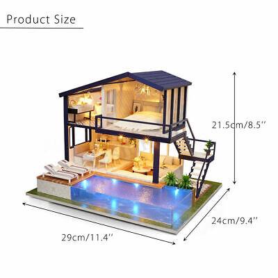 AU DIY LED Music Apartments Dollhouse Miniature Wooden Furniture Kit Doll House 10