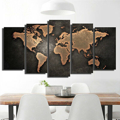 5PCS Unframed Vintage World Map Modern Canvas Print Wall Art Painting Picture