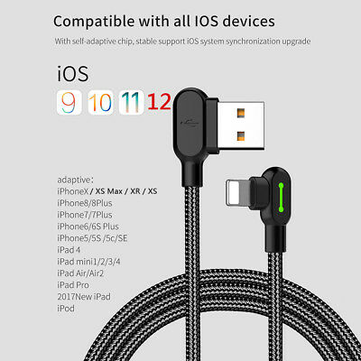 MCDODO 90 Degree Right Angle USB Charger lightning Cable Apple iPhone iPod iPad 2
