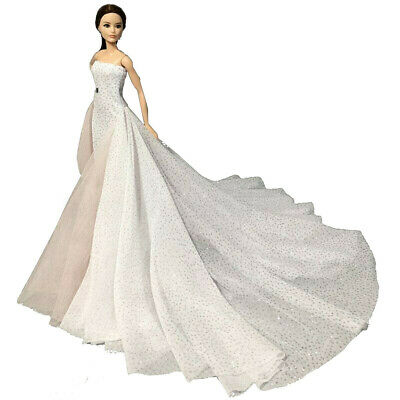 White Wedding Dress Gown for 11.5 inch Doll Evening Party Clothes for 1/6 Dolls 4
