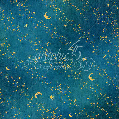 2pc Graphic45 STARS ALIGNED 12x12 Dbl-Sided Scrapbook Paper BEDTIME MAGIC