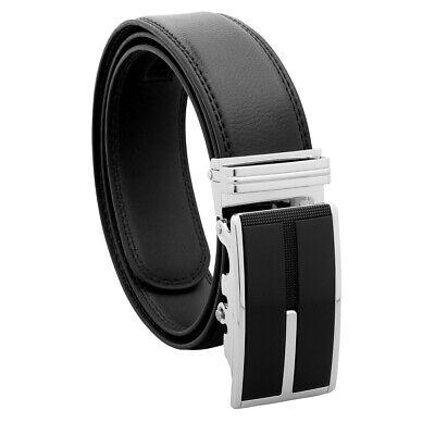 Men's Designer Leather Dress Belt With Sliding Ratchet Automatic Buckle Holeless 6