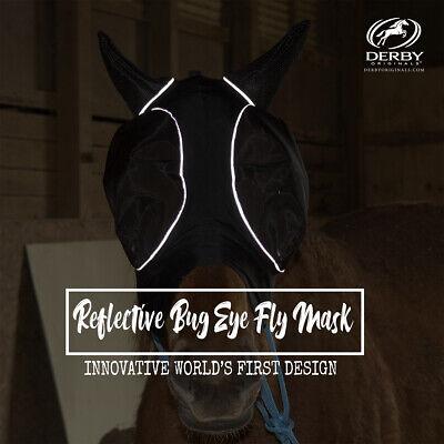 Derby Safety Reflective Bug Eye UV-Blocker Lycra Horse Fly Mask 1 Year Warranty
