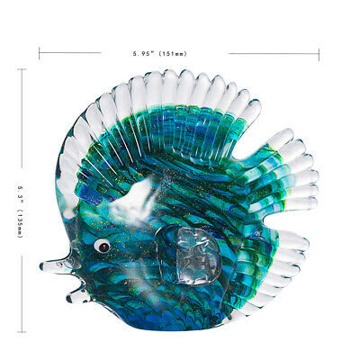 Crystal Stripe Tropical Fish Sculpture Art Glass Hand Blown Figurine Table Decor 5