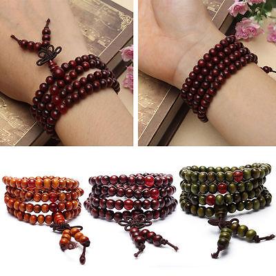 Sandalo Buddista Meditazione 6mm 108Preghier Perlina Mala Bracciale/Collana *SP 2