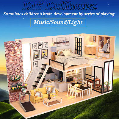 DIY LED Wooden Dollhouse Miniature Wooden Furniture Kit Doll House Kid's Toy AU 2