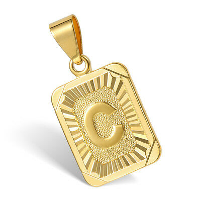 """18""""-30"""" Womens Mens Gold Plated Initial A-Z Letter Pendant Necklace Steel Chain 4"""