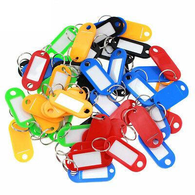 50X Plastic Key Tags Metal Ring Luggage Card Name Label Keychain W/ Split Ring 9