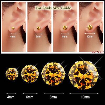 4ct CZ Stud Earrings Brilliant Cut Cubic Zirconia men women 10mm 14K gold plated 12
