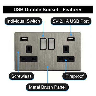 Double Wall Plug Socket 2 Gang 13A with 2 USB Ports Screwless Slim Flat Plate 3