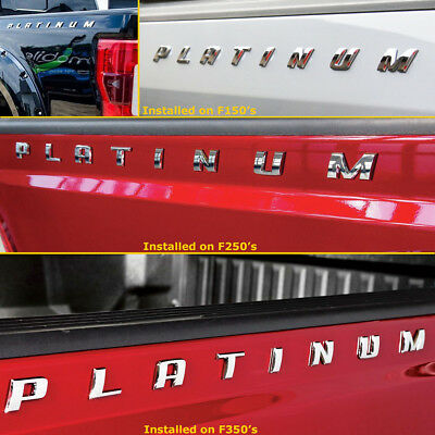 FORD F-150 F-250 F-350 SUPER DUTY PLATINUM Bed side Chrome Emblem Decal 2pc Set