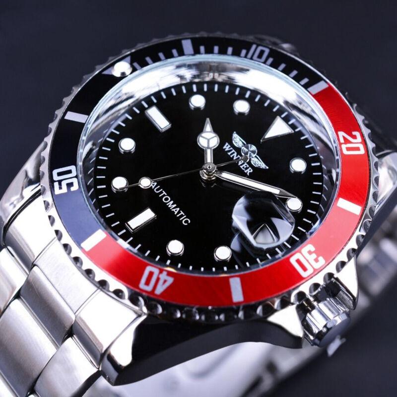 Winner Men Classic Transparent Steampunk Mechanical Stainless Steel Watch 6