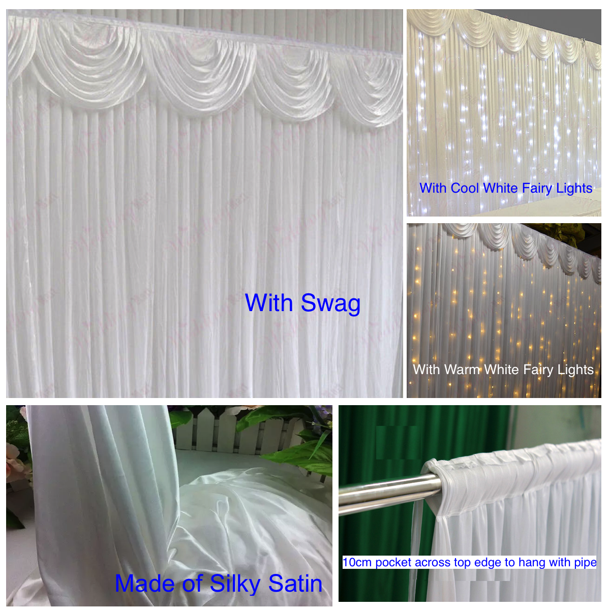 Wedding Party Stage Backdrop Swag Drape Sheer Satin Curtain Photo Background NEW 3