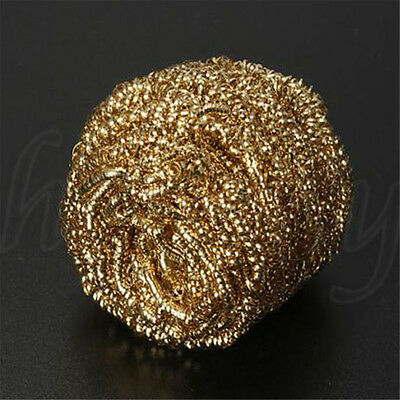 1pc Soldering Solder Iron Tip Cleaner Brass Cleaning Wire Sponge Ball Gold 6