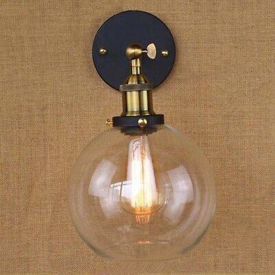 Modern Industrial Antique Brass Arm Wall Sconce Light  Glass Shade Wall Lamp 10