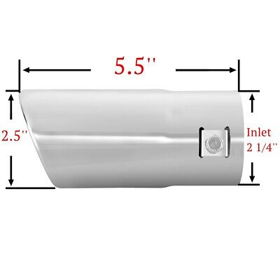 Stainless Steel to give Chrome Effect Car Muffler Tip To Fit 1.5 to 2.25 inch Exhaust Pipe Diameter Installation Clamps Included by TriTrust