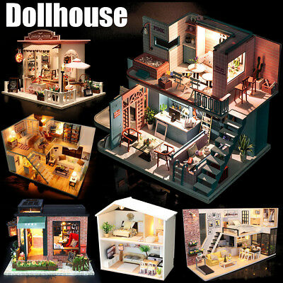 Mini DIY LED Wooden Dollhouse Miniature Wooden Furniture Kit Doll House 2