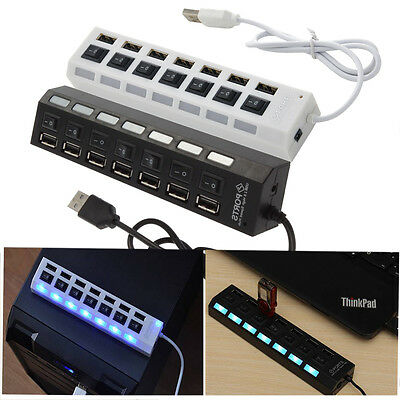 3/4/7-Port USB 2.0 Hub with High Speed Adapter ON/OFF Switch for Laptop PC KY