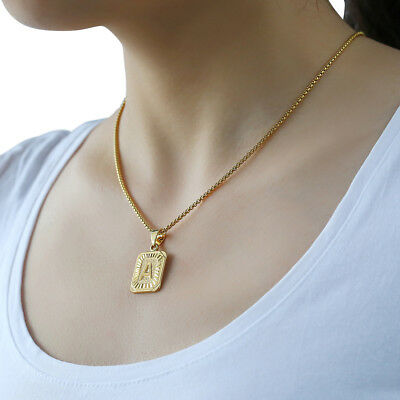 """18""""-30"""" Womens Mens Gold Plated Initial A-Z Letter Pendant Necklace Steel Chain 5"""