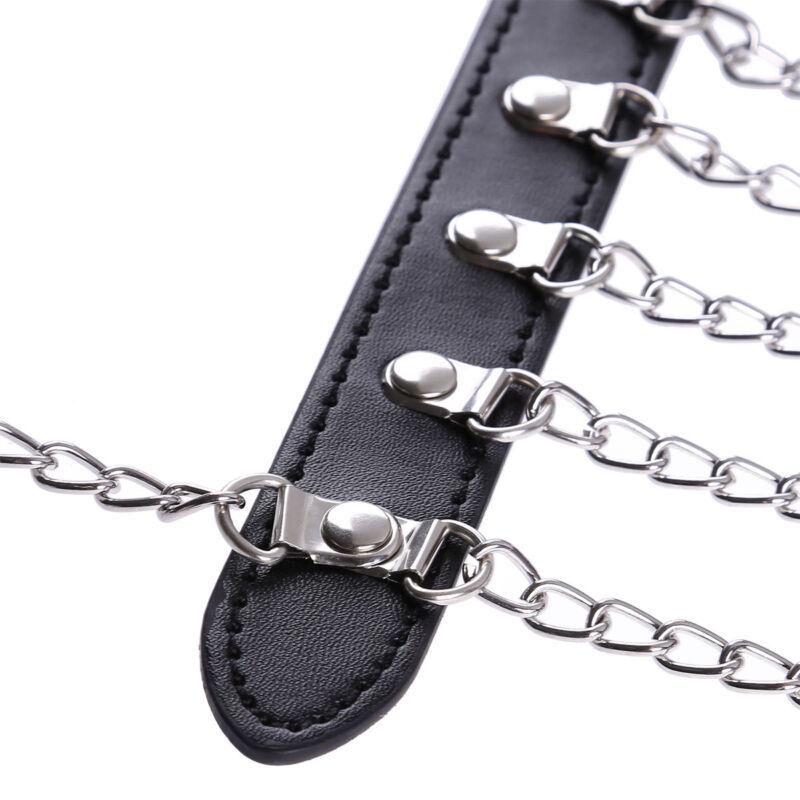 Damen Herren Body Riemenbody Halsband Leder Harness Gürtel Fesseln mit Kette 3