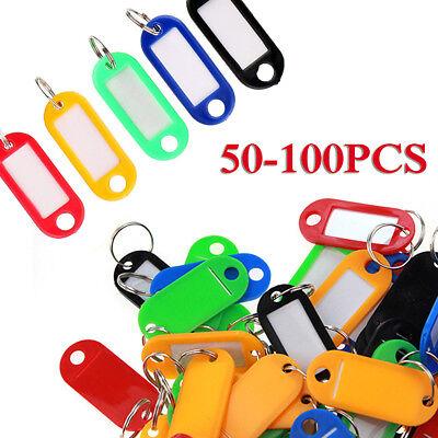 Lots 50-100PCS Tough Plastic Key Luggage Tags W/Split Ring Label Window 5-color 2