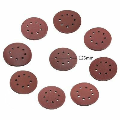 10X 5 inch 125mm Round Shaped Sanding Disc Pads 8 Hole Sandpaper 60-1000 Grit WD 2