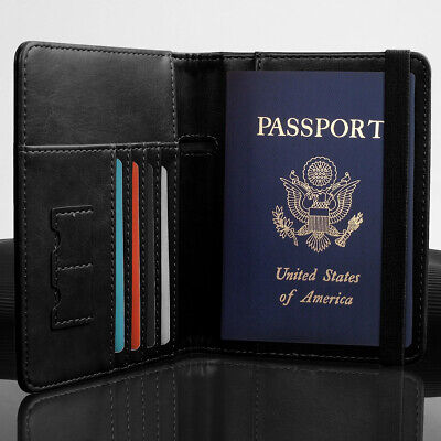 Slim Leather Travel Passport Wallet Holder RFID Blocking ID Card Case Cover US 10