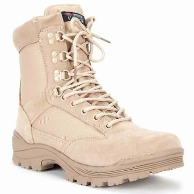 Mil-Tec Double Side Zip Tactical Combat Army Military Desert Boots Tan ALL SIZES