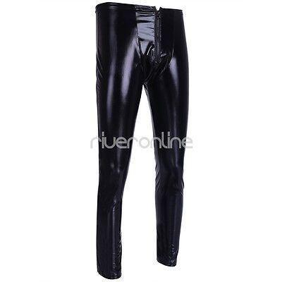 Herren Leggings Wetlook Lackleder Hose Eng Hosen Lang mit Reißverschluss Schwarz 4